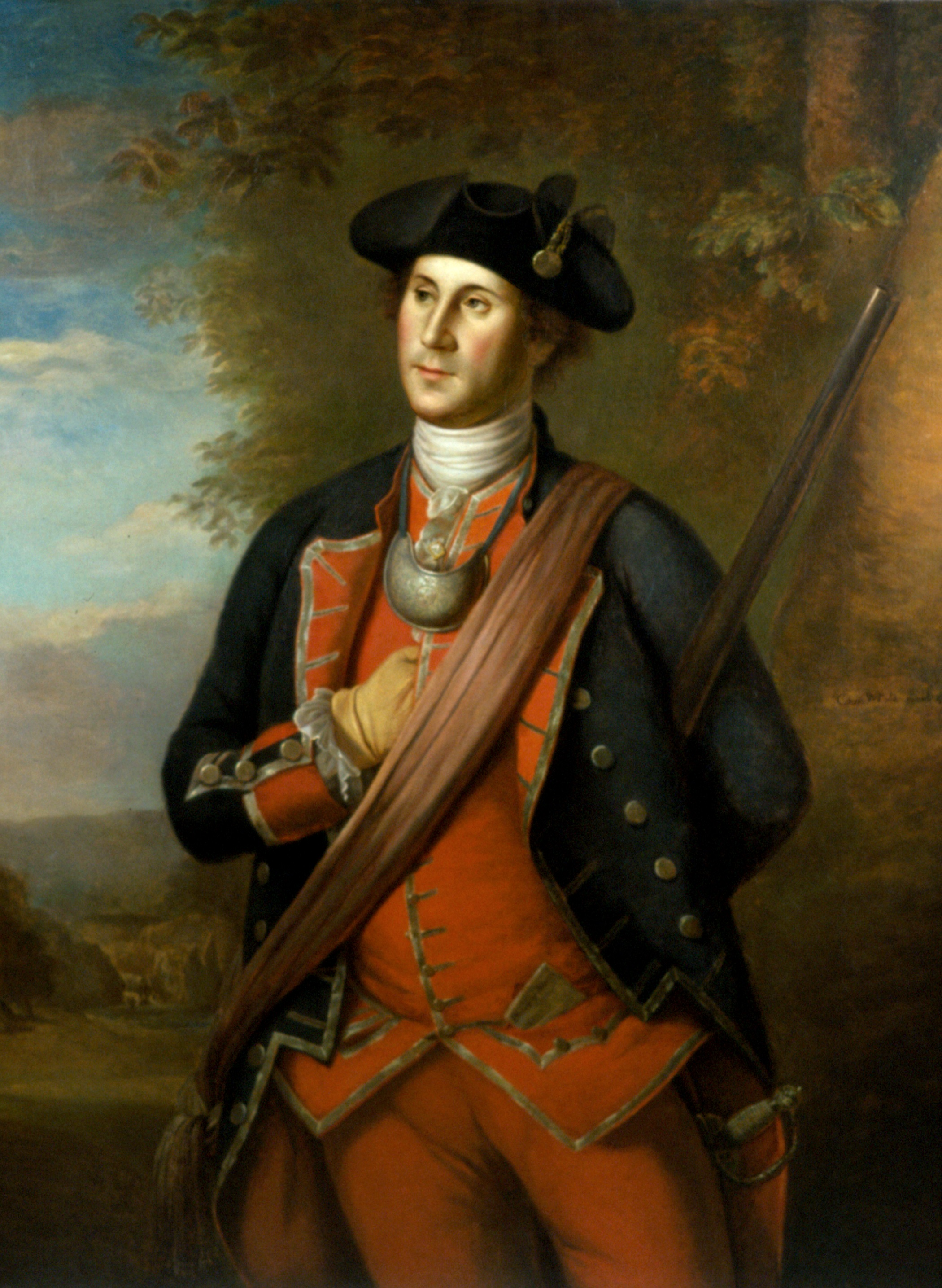 George Washington in the uniform of the Virginia Regiment, painted by Charles Willson Peale in 1772.