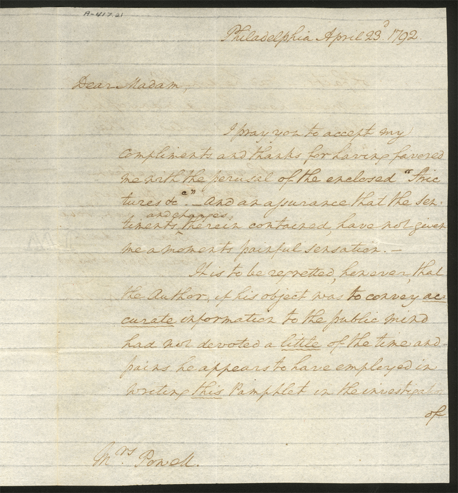 George Washington to Elizabeth Willing Powel, April 23, 1792, MVLA, A-417.21 ; A-417.