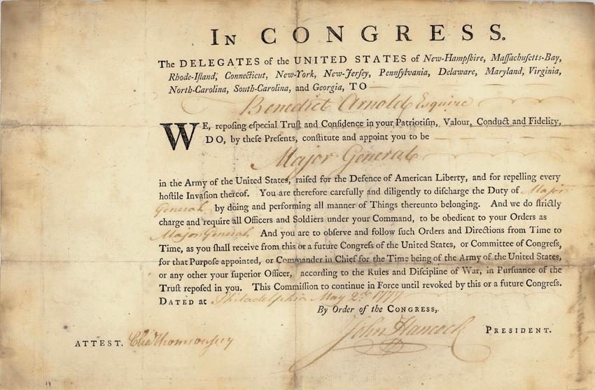 Benedict Arnold's commission as major general, signed by John Hancock, President of Continental Congress, May 2, 1777, MS-5670, MVLA.