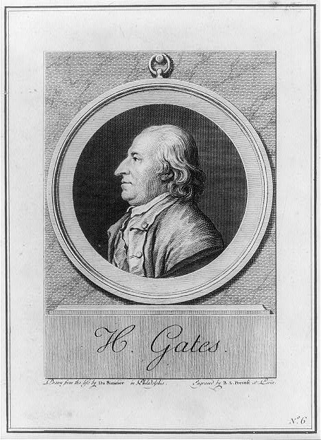 Print of Horatio Gates, engraved by Benoît Louis Prévost, based on an original by Pierre Eugène Du Simitière, c. 1781. Library of Congress control number 2001699814