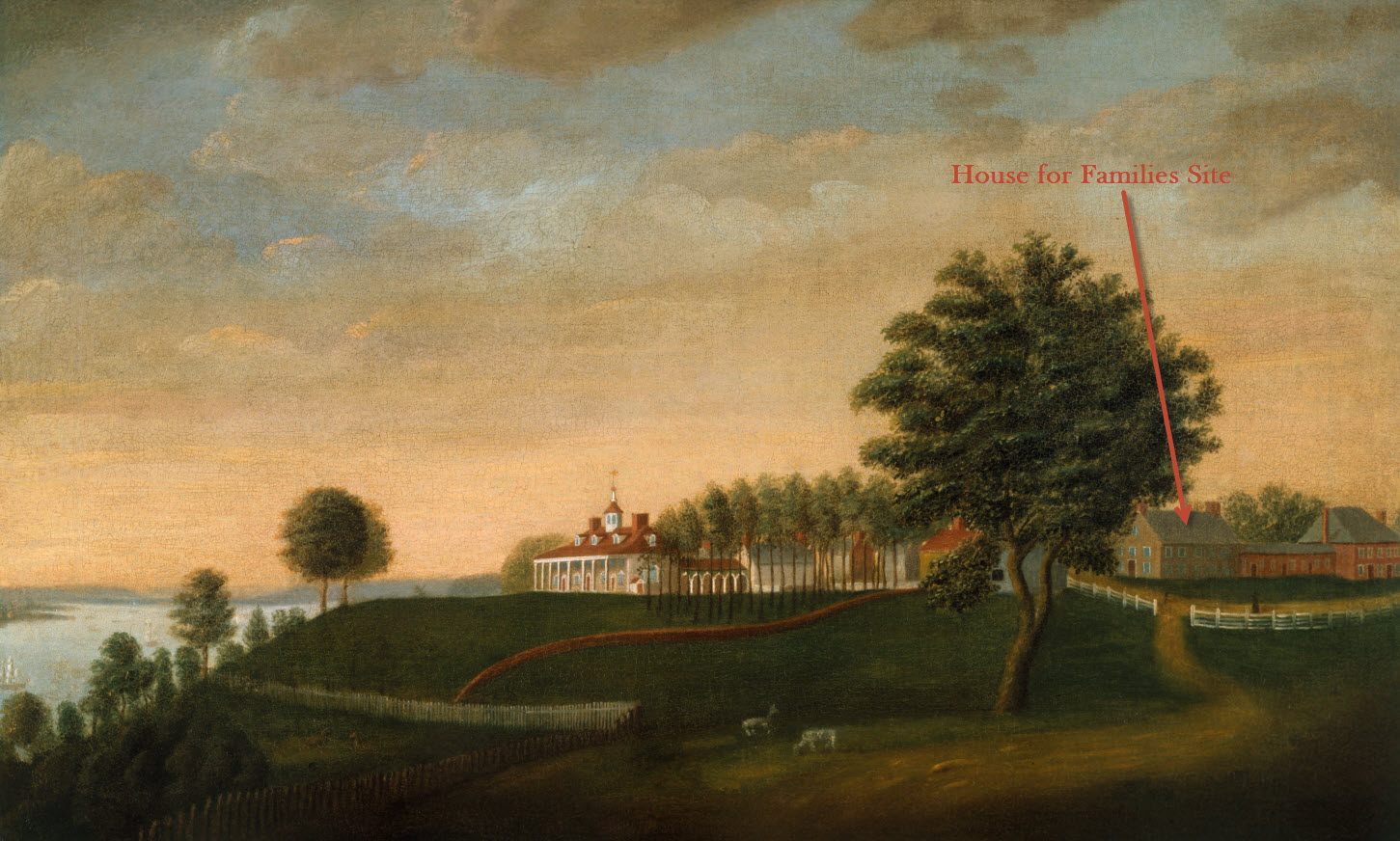 The House for Families can be seen in this Edward Savage painting of the Estate.