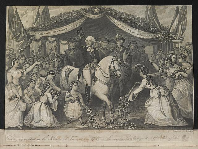 Washington's reception on the bridge at Trenton, on his way to his first inauguration. Engraved by Thomas Kelly, c. 1823-1835. Library of Congress call number PR 13 CN 1975:071, p. 129 [P&P]