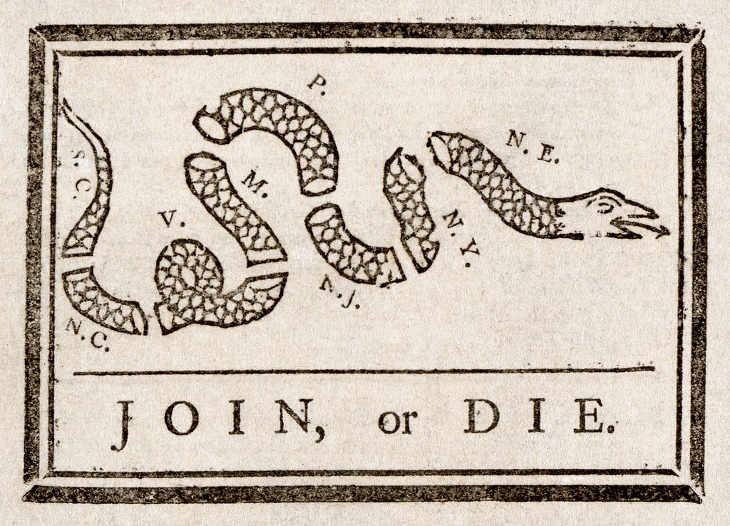 "Benjamin Franklin created the ""Join or Die"" cartoon to promote the Albany Plan of Union."