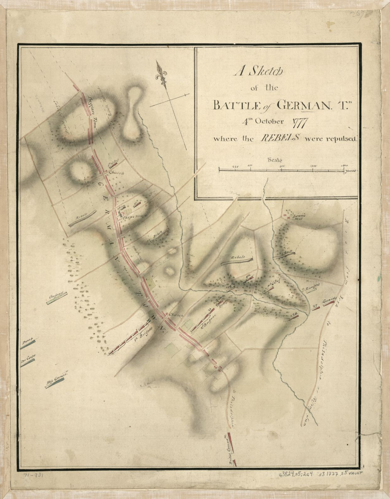 The low point of Stephen's military career occurred at the Battle of Germantown when troops under his command mistook American forces for the British and fired on them.  Stephen's was accused of drunkenness and removed from the army. -  A Sketch of the Battle of Germantown.  Courtesy Library of Congress, G3824.P5:2G4S3 1777 .S5