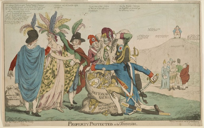 A British cartoon representing America's trials at the hands of the French during the XYZ Affair (Library of Congress)