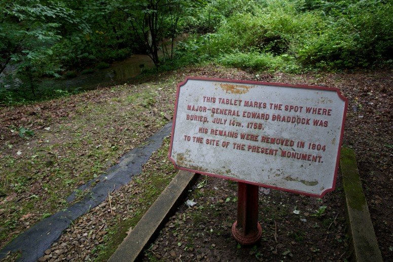 Site of Edward Braddock's original gravesite within the track of the Braddock Road (Rob Shenk)