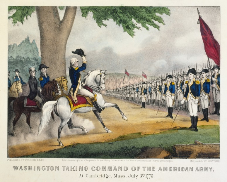Washington Taking Command of the American Army. At Cambridge, Mass. July 3rd, 1775, by Currier & Ives, 1876.