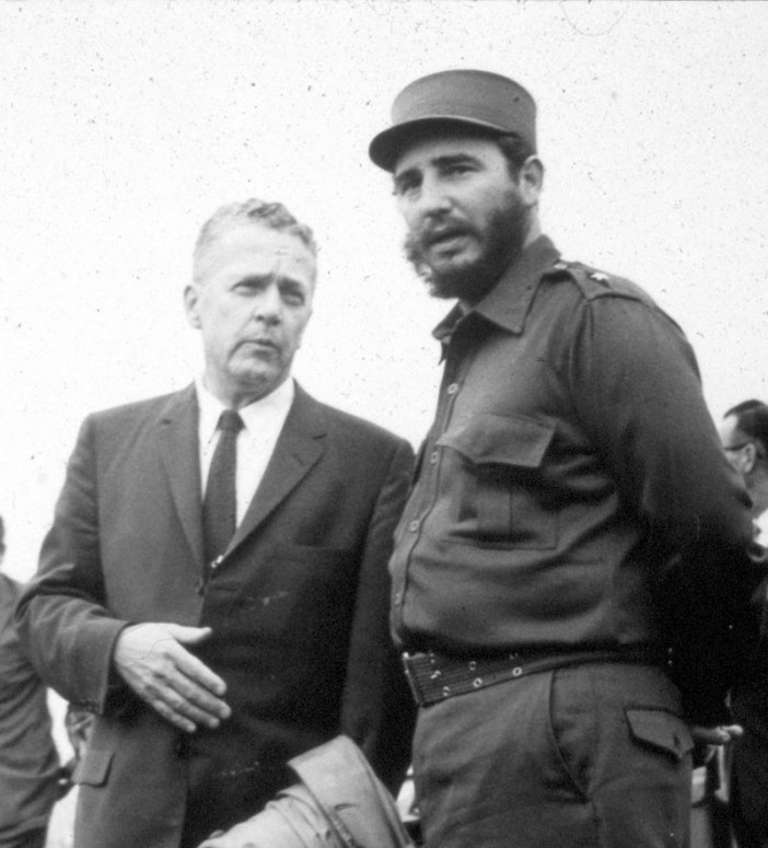 Superintendent Charles C. Wall with Fidel Castro, 1959.
