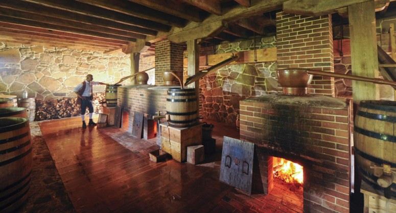 View of the interior of George Washington's Distillery at Mount Vernon. Three of the five copper stills can be seen in this view (Russ Flint)