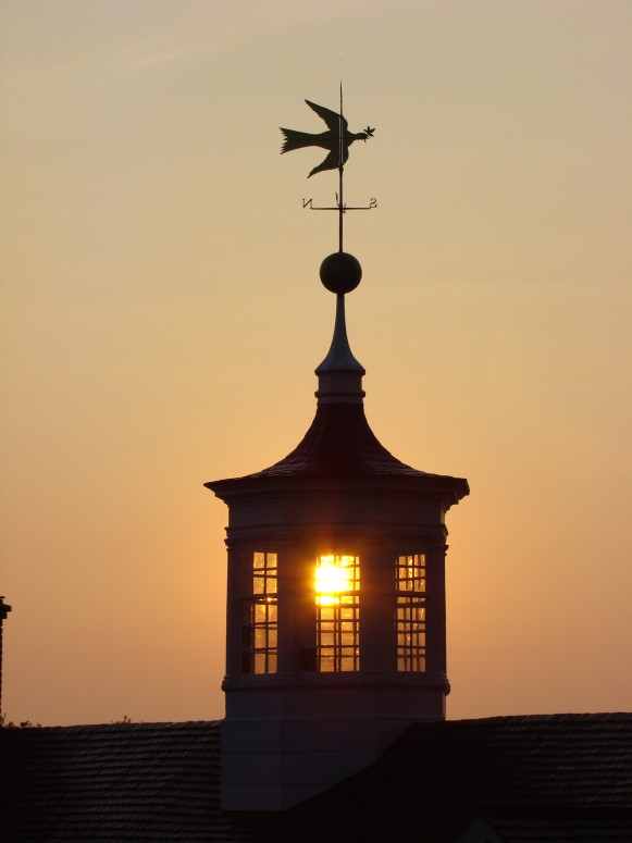 View of the cupola with its iconic dove of peace weathervane