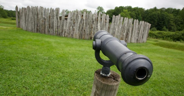 View of a swivel gun in front of the recreated Fort Necessity at Great Meadows. (Rob Shenk)