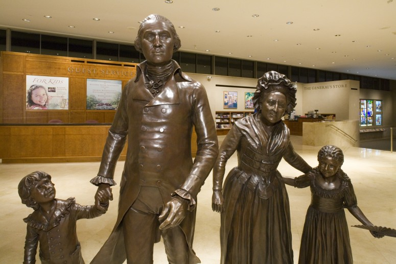 Bronze statues of the Washington family in the lobby of the Ford Orientation Center
