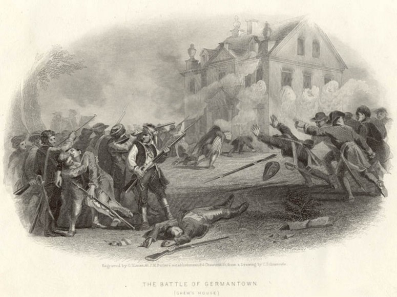 The battle at Germantown swirls around the Chew House at the center of the battlefield.