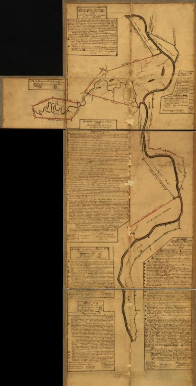 Eight survey tracts along the Kanawha River, W.Va. showing land granted to George Washington and others. (Image via Library of Congress)