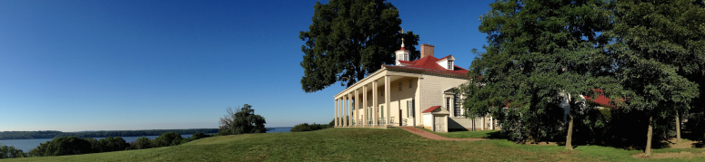 Landscape view of the Mount Vernon Mansion