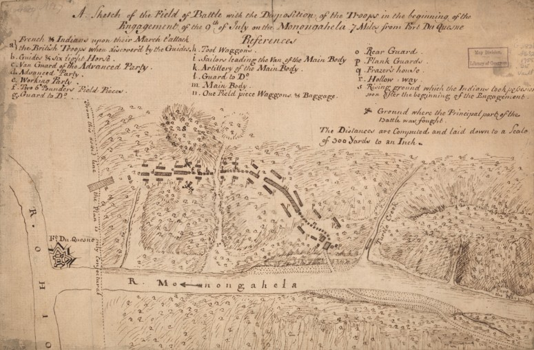 A sketch of the field of battle with the disposition of the troops in the beginning of the engagement of the 9th of July on the Monongahela 7 miles from Fort Du Quesne. (Library of Congress Geography and Map Division)