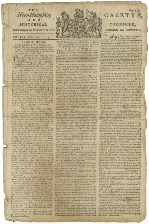 "Front page of the April 21, 1775 edition of the New Hampshire Gazette. This paper provided ""Bloody News"" on the Battles of Lexington and Concord. (Todd Andrlik Collection)"