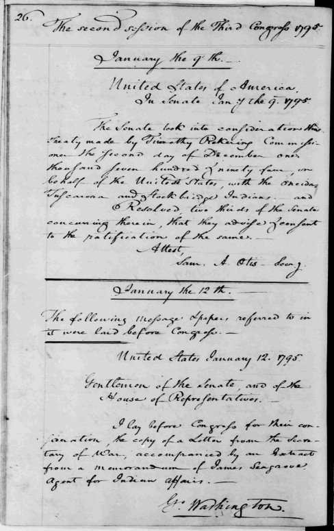 Senate, January 9, 1795, Indian Treaty, Oneida, et al, George Washington Papers at the Library of Congress, 1741-1799: Series 2 Letterbooks (Image via Library of Congress)