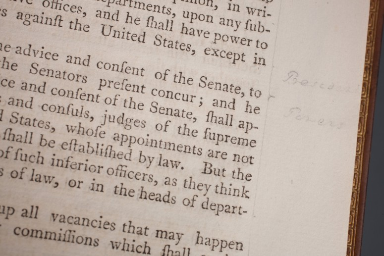 Close up of George Washington's marginal notes inside his personal copy of the Acts of Congress. - MVLA