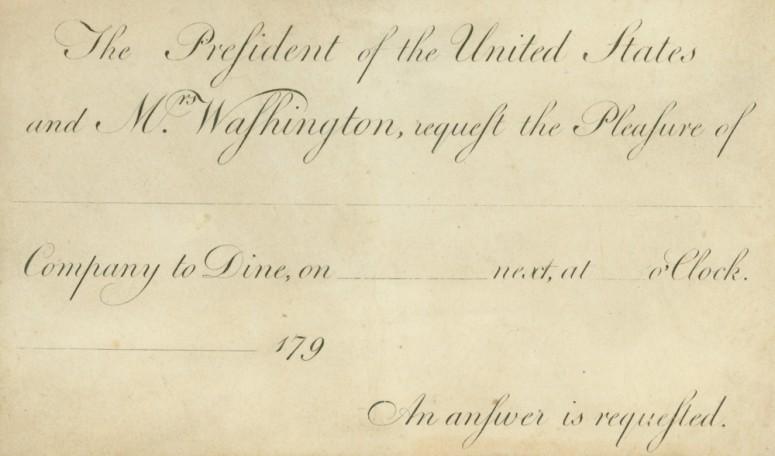 President Washington invitation card (Mount Vernon Ladies' Association)