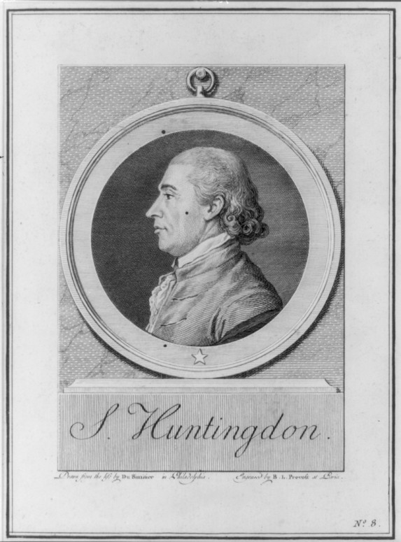 Samuel Huntington, 1731-1796, drawn from the life by Du Simitier in Philadelphia; engraved by B.L. Prevost at Paris, 1781. (Image from the Library of Congress)