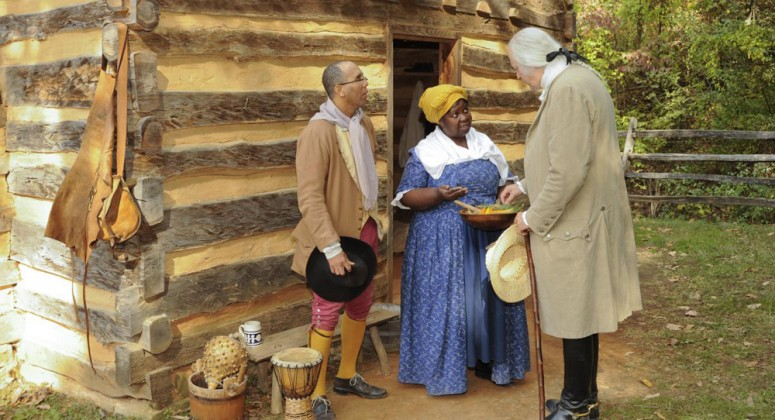George Washington visiting the slave cabin at Mount Vernon's Pioneer Farm (Mount Vernon Ladies' Association)