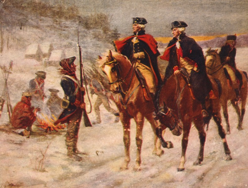 George Washington and Marquis de Lafayette at Valley Forge (Library of Congress)