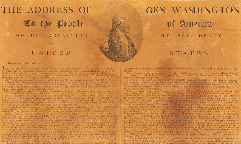 Printed copy of Washington's Farewell Address (Library of Congress)