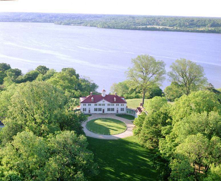 A view of Mount Vernon showing a view of the Maryland side of the Potomac, where the HMS Savage landed men to burn gentlemen's homes.