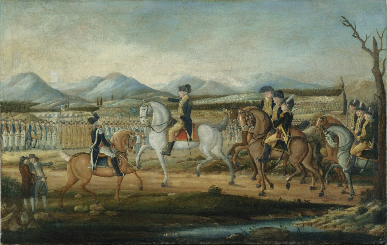 President George Washington leading his gathered forces during the Whiskey Rebellion (Metropolitan Museum of Art)