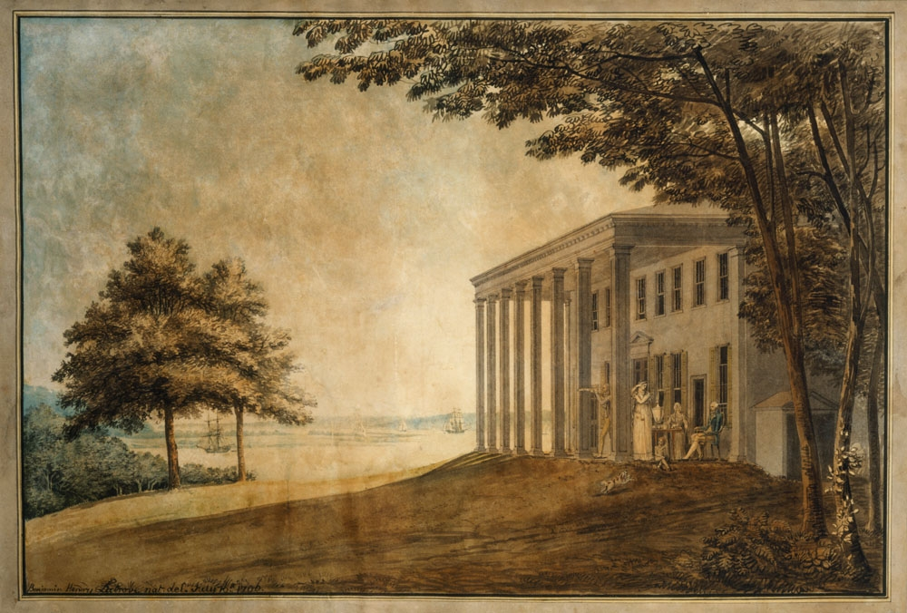 "Latrobe's ""A View of Mount Vernon with the Washington Family"". MVLA"