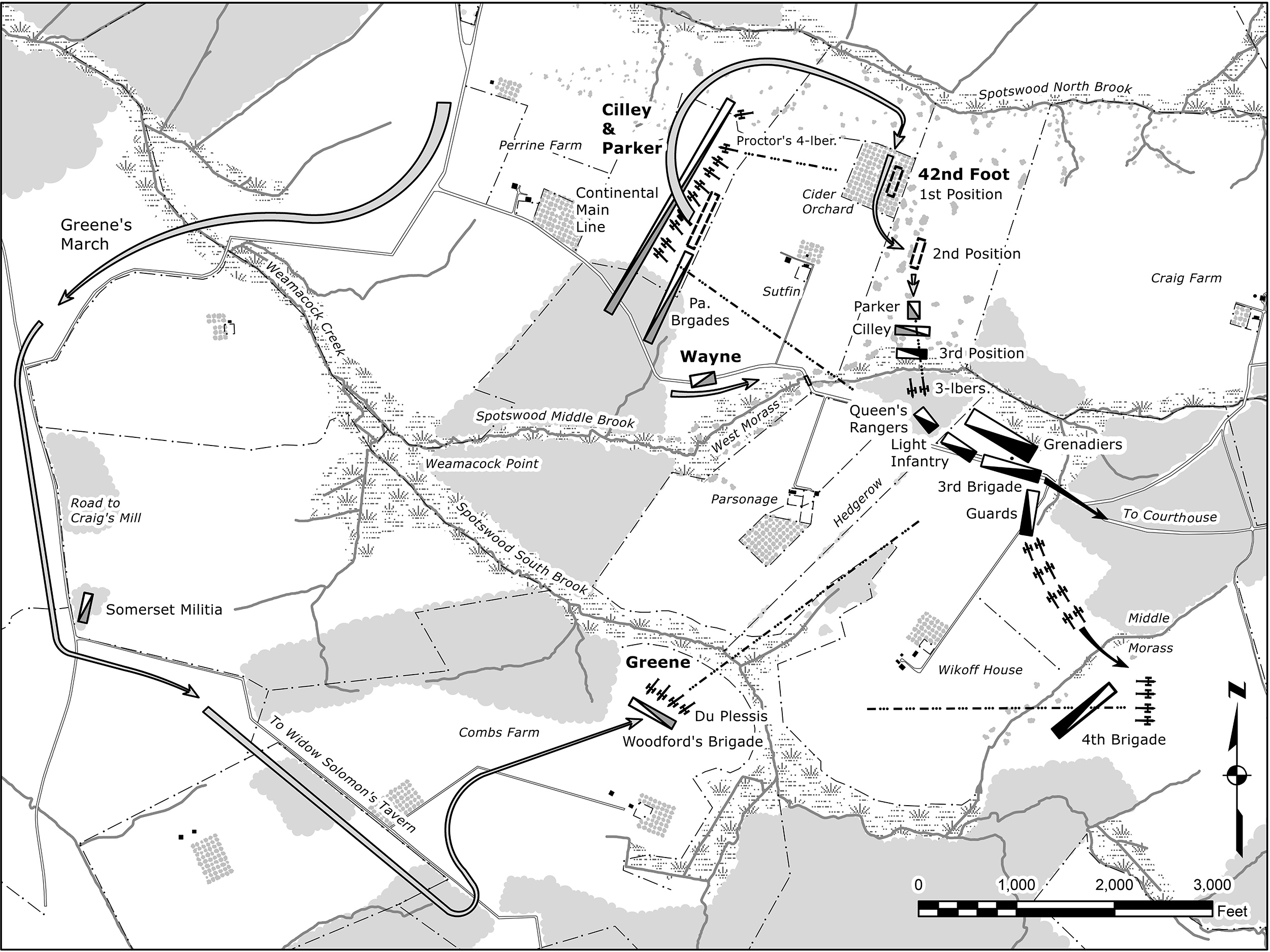 Washington resumes the offensive: Outflanked by Greene's appearance on Comb's Hill, the British begin withdrawing, while Washington advances. (Map by Garry Wheeler Stone, Copyright by University of Oklahoma Press )