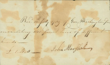 This receipt states that on July 10, 1789, George Washington paid one pound and four shillings to have 140 of his fruit trees inoculated. Receipt from John Marshall to George Washington, July 10, 1789, MS-5635, MVLA.