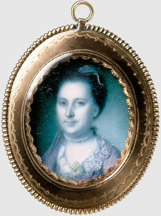 Martha Washington as she appeared in 1772, by Charles Willson Peale.