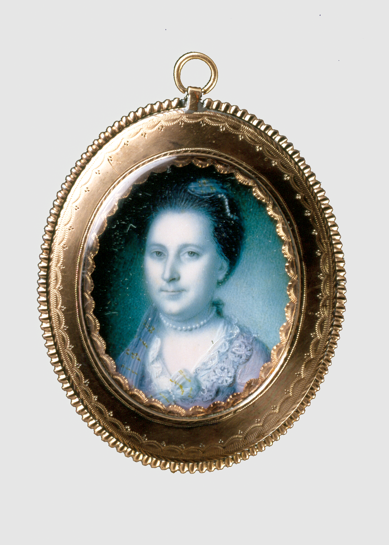 Charles Willson Peale's 1772 miniature portrait of Martha Washington.