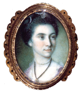 Portrait miniature of Martha Parke Custis by Charles Willson Peale, 1772.