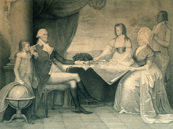 Washington family by Edward Savage (American, 1761 - 1817), 1798, Ink on paper; stipple engraving, M-1152, Mount Vernon Ladies' Association.