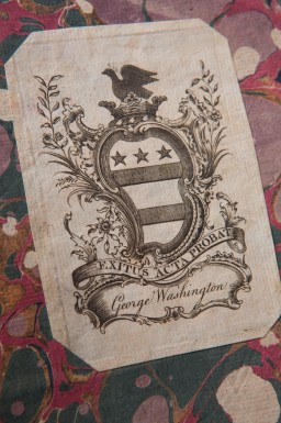 Washington's coat of arms as a bookplate in one of his books