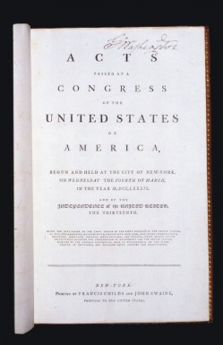 Title page of Washington's personal copy of the Acts of Congress. - MVLA