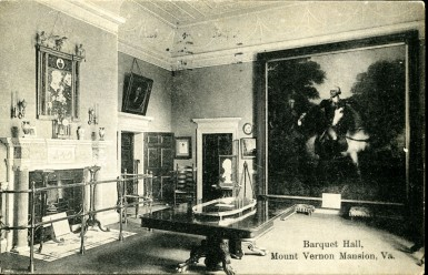 "This postcard shows the ""banquet hall"" as it appeared in 1908."