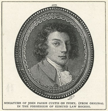 Print of a miniature portrait of John Parke Custis, who was one of Jonathan Boucher's students. Image from the New York Public Library, image ID 417890