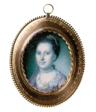This miniature portrait, painted in 1772 by Charles Willson Peale, is the earliest depiction of Martha after her marriage to George Washington (Mount Vernon Ladies' Association