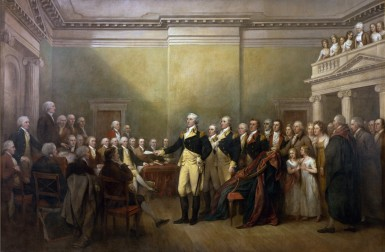 General George Washington Resigning His Commission to Congress As Commander in Chief of the Army at Annapolis, Maryland, December 23d, 1783, John Trumbull, oil on canvas, Commissioned 1817, purchased 1824, Image courtesy of Architect of the Capitol