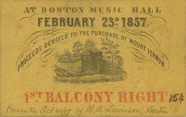 Ticket stub for an Everett oration about Mount Vernon