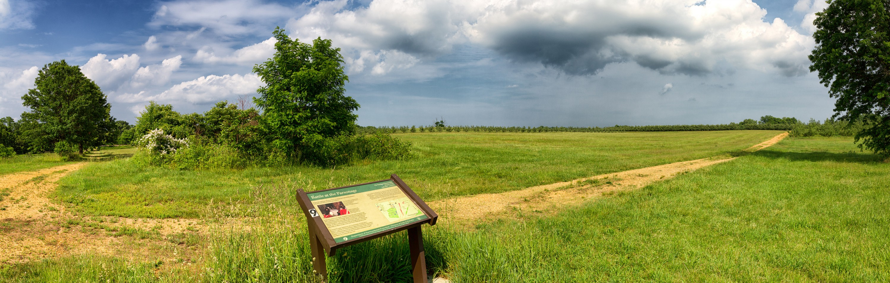 View of the Monmouth Battlefield.  The Parsonage, located roughly in the clump of trees on the left, was the scene of heavy fighting in the latter stages of the battle. (Rob Shenk - MVLA)