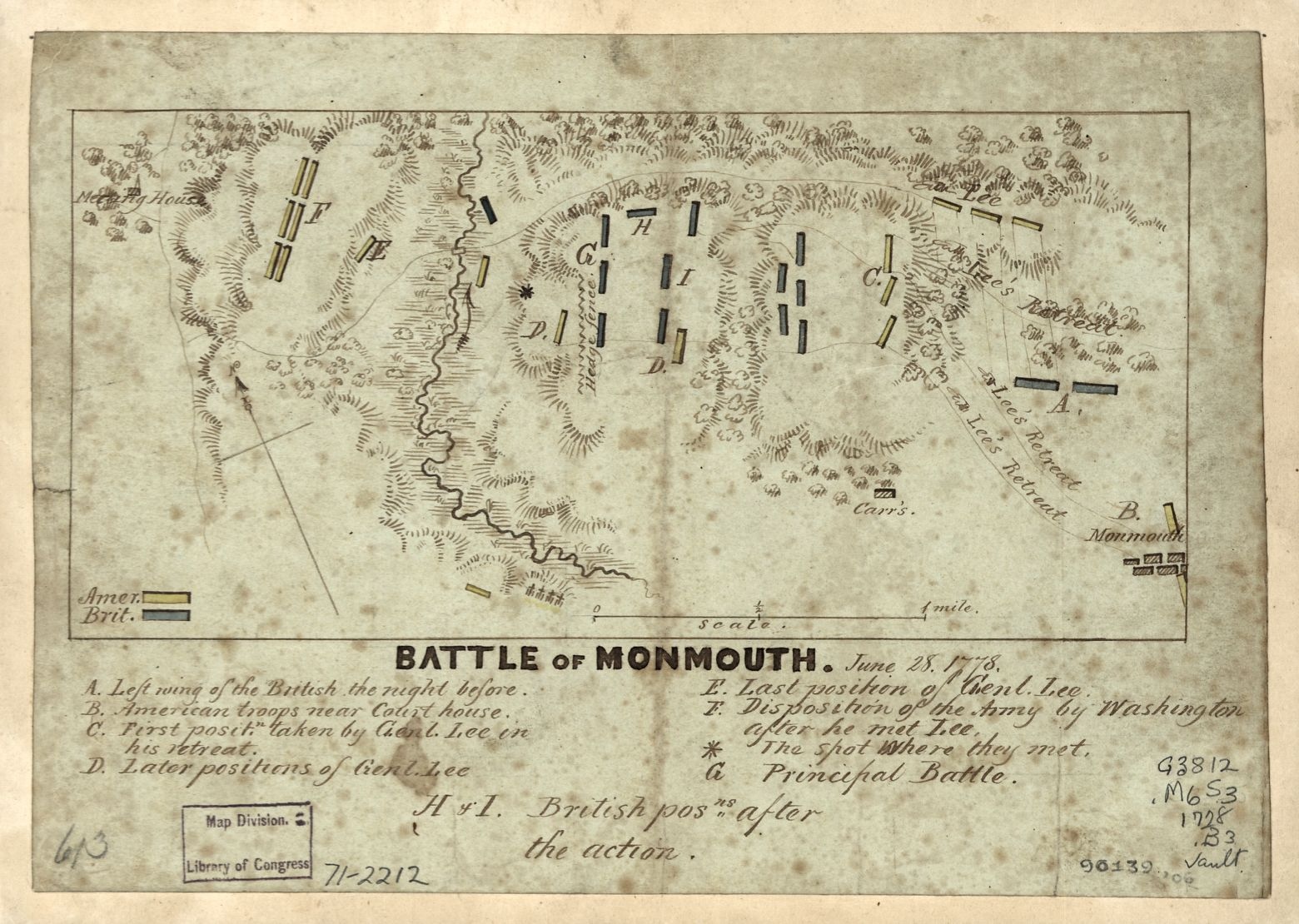 Map of the Battle of Monmouth, publication date unknown. Library of Congress call number G3812.M64S3 1778 .B3.