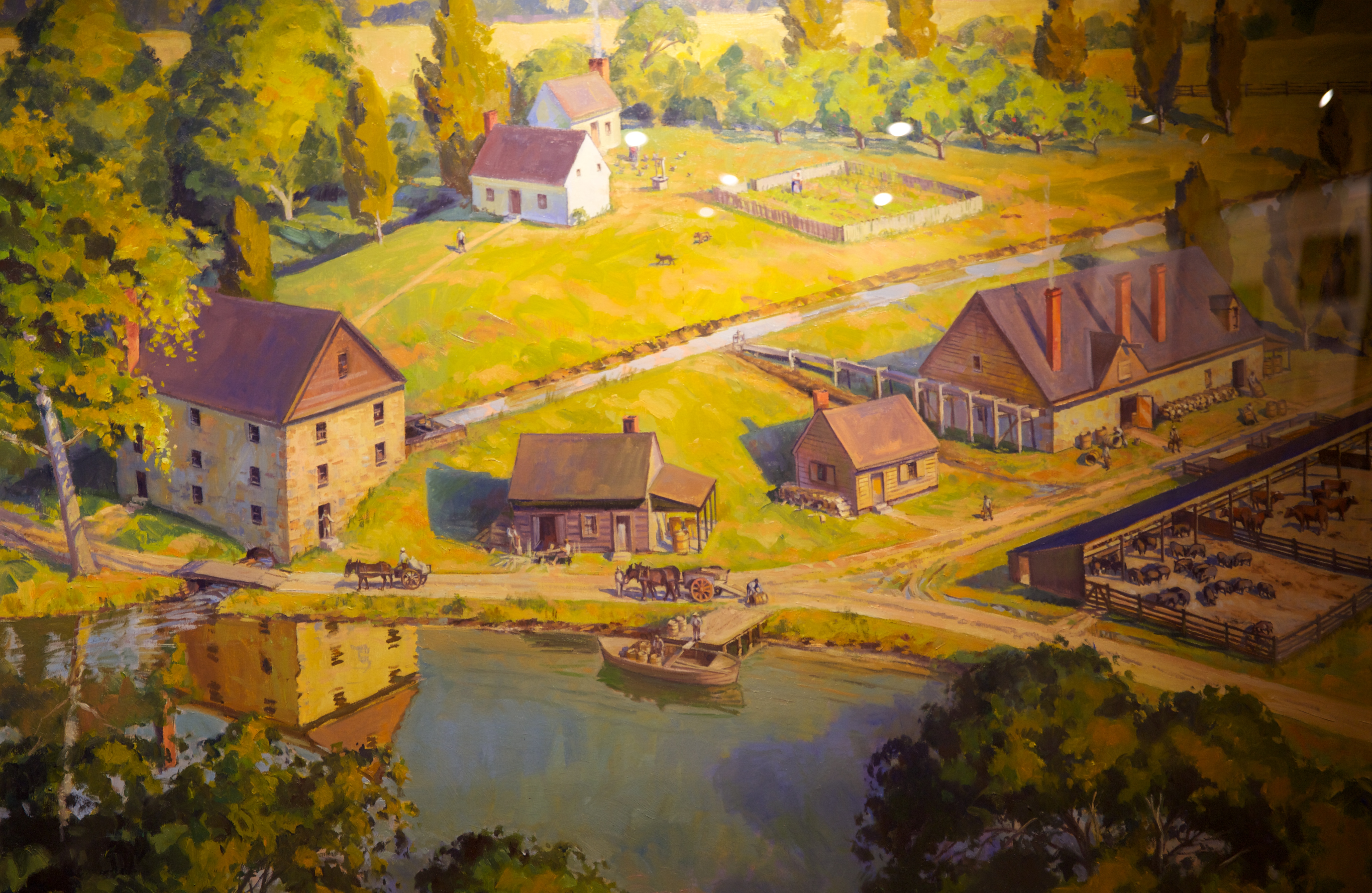 Painting showing Washington gristmill (on left) near the cooperate (middle) and the distillery (upper right) near Dogue Run Creek. (Mount Vernon Ladies' Association)