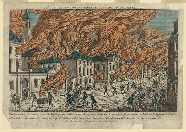 "A contemporary French drawing of the New York fire. ""Representation du feu terrible a Nouvelle Yorck,"" Paris, Chez Basset, c. 1778. Library of Congress control number 2004670215."