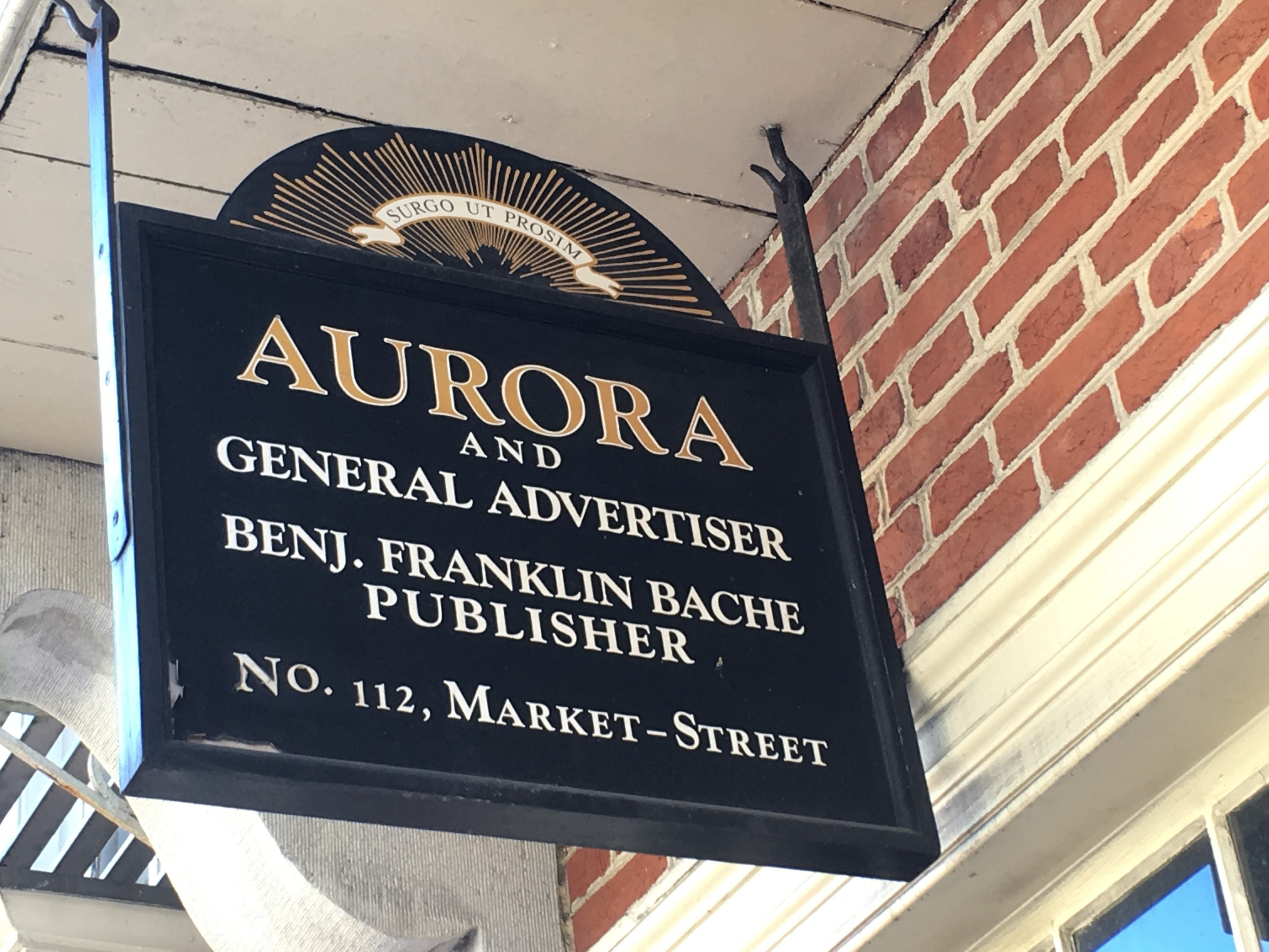 Sign for the Aurora in the historic area of Philadelphia.