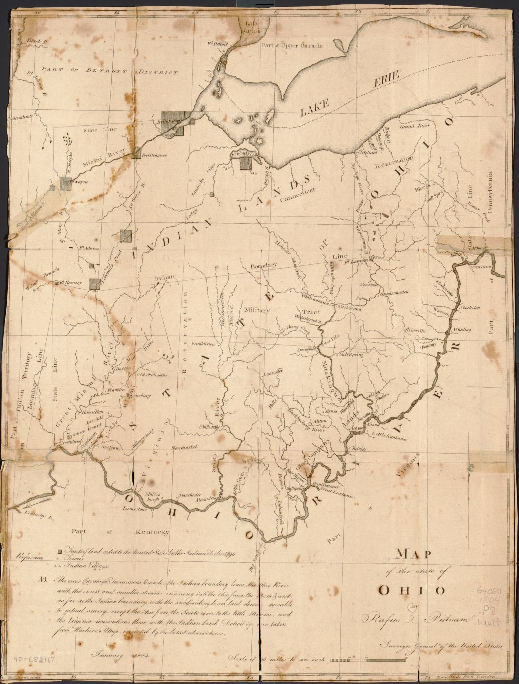 Map of the state of Ohio, by Rufus Putnam, Thomas Wightman, and Thaddeus Mason Harris, ca. 1804, [G4080 1804 .P8]. Courtesy Library of Congress.